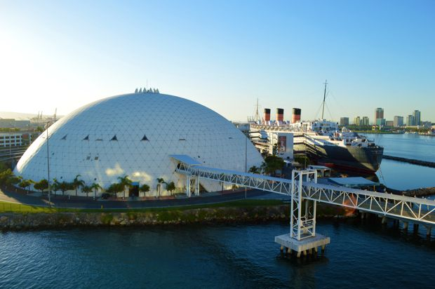 The Dome, where you'll go through security and enter the ship via a gangway. The Queen Mary resides next to the dome.