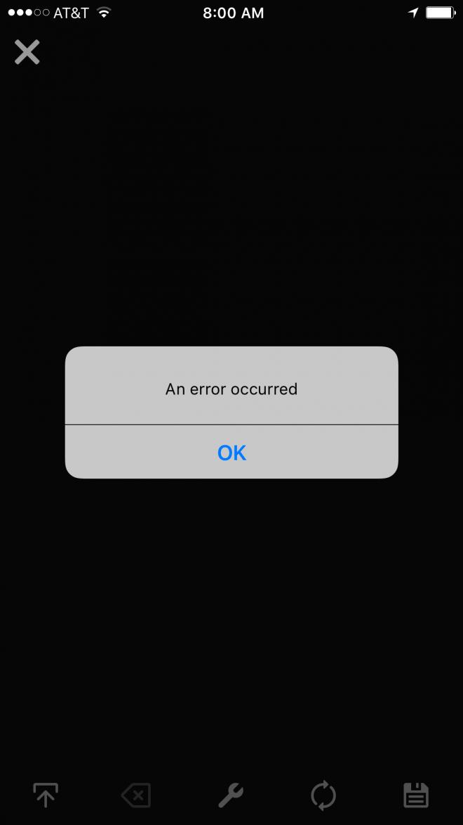 "vine ""an error occurred"""